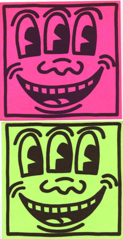 Keith Haring, 'Original Keith Haring Three Eyed Smiling Face stickers (Keith Haring Pop Shop)', ca. 1982