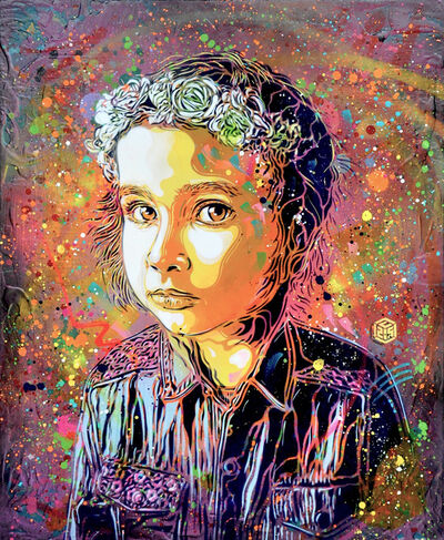 C215, 'Girl with crown of flowers', 2018