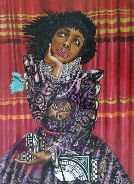 Eria Sane Nsubuga, 'Queen Amaka, Nina Simone mask, fragments of Libertas head and Big Ben', 2020