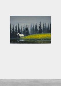 Dan Attoe, 'White Horse in Meadow Under Gray Sky', 2020