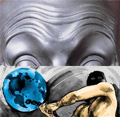 John Baldessari, 'Raised Eyebrows - Furrowed Foreheads - Figure With Globe', 2009