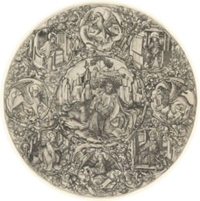 Master E.S., 'Saint John the Baptist in the Wilderness with the Lamb of God, Surrounded by the Symbols of the Evangelists and the Four Fathers of the Church', 1466