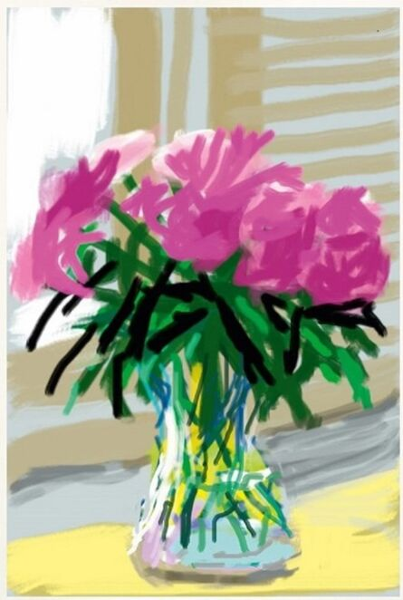 David Hockney, 'My Window with iPhone drawing No. 535, [Vase of Pinks]', 2009
