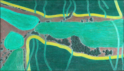 Diana Moore, 'Green Fields with Gold Bands'