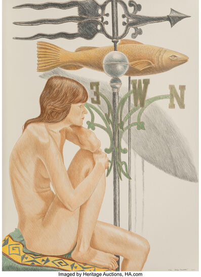 Philip Pearlstein, 'Nude Model with Banner and Fish Weathervanes', 2010
