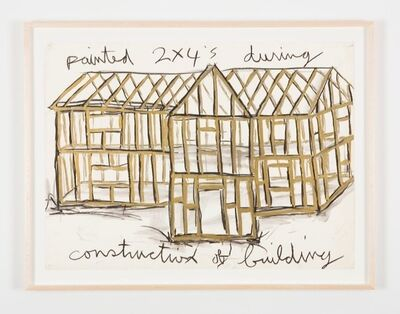 Kate Ericson and Mel Ziegler, 'Painted 2x4's during construction of building (gold)', 1984
