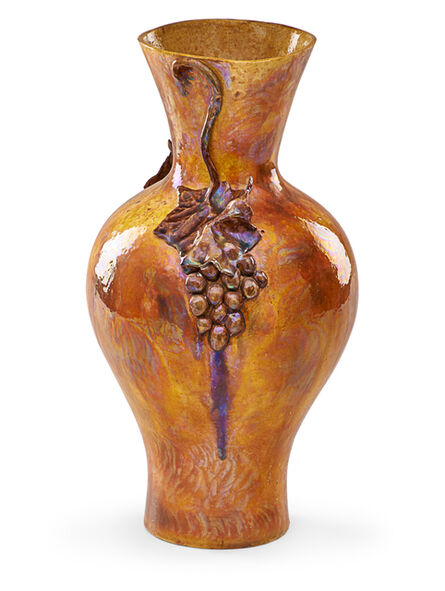 Theophilus A. Brouwer, 'Fine large flame-painted vase with grape clusters', 1900s