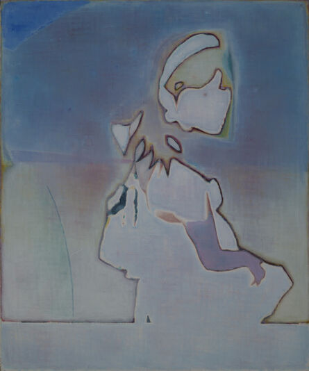 Tang Yongxiang, 'Girl looking back on a blue and yellow background', 2014