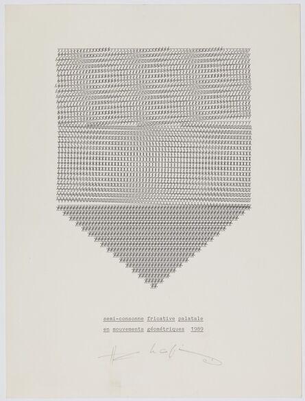 Henri Chopin, 'semi-consonne fricative palatale en mouvements géométriques', 1989