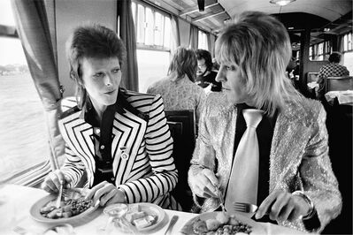 Mick Rock, 'Bowie Ronson Lunch on Train to Aberdeen', 1973