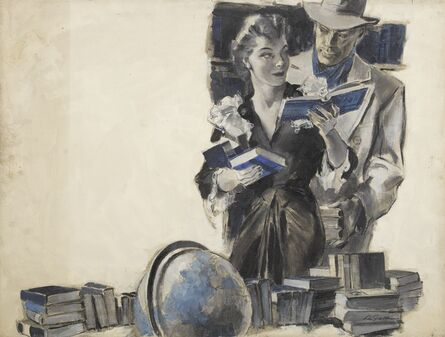 John Lagatta, 'A Woman Among Books with a Man in Fedora Behind Her', ca. 1940
