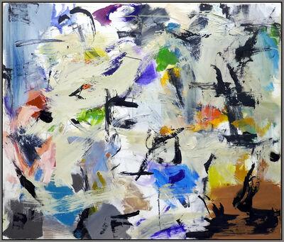 Scott Pattinson, 'Ouvert No 40 - colourful mint green, black, indigo, orange abstract oil painting', 2018