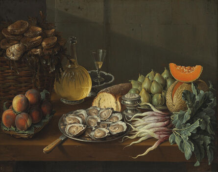 François Desportes, 'Le Déjeuner maigre: oysters, bread, wine, peaches, pears, melon, radishes, salt and figs on a table', 1739