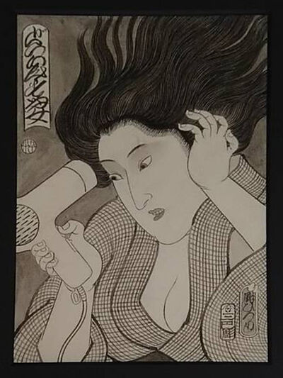 Horihiro Mitomo, 'ドライヤーする女', 2019