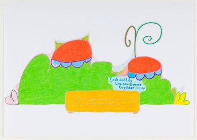Lily van der Stokker, 'Jack and Lily Live Together 5 Years, Design for Wall Painting and Couch', 1998