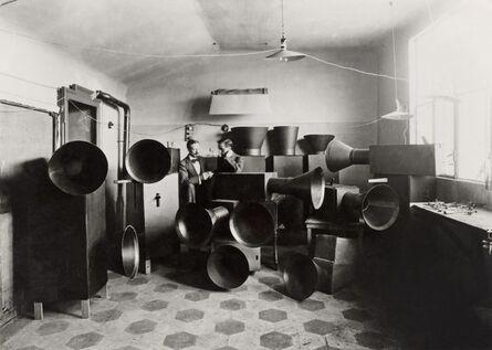 Unknown Artist, 'Luigi Russolo and his assistant Ugo Piatti in his studio with the intonarumori (noise machines), Milan', 1914-1915