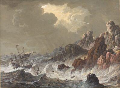 Johann Christoph Dietzsch, 'Storm-Tossed Ships Wrecked on a Rocky Coast'