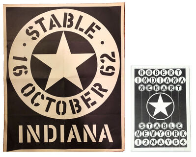 Robert Indiana, '2 PIECE SET- Stable Gallery NY, 1962 Exhibition Poster & 1964 Exhibition Card.', 1962 & 1964