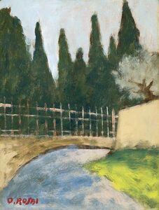 Ottone Rosai, 'Strada con alberi e cancellata', 1955 circa