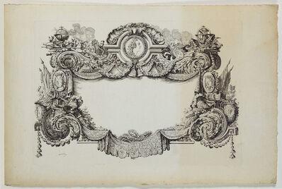 Louis-Jean Desprez, 'Cartouche richement orné d'un portrait en médaillon de Louis XV et les attributs des arts et des sciences. ', ca. 1770
