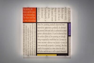 Joseph Kosuth, ''Mondrian's Work XII'', 2016