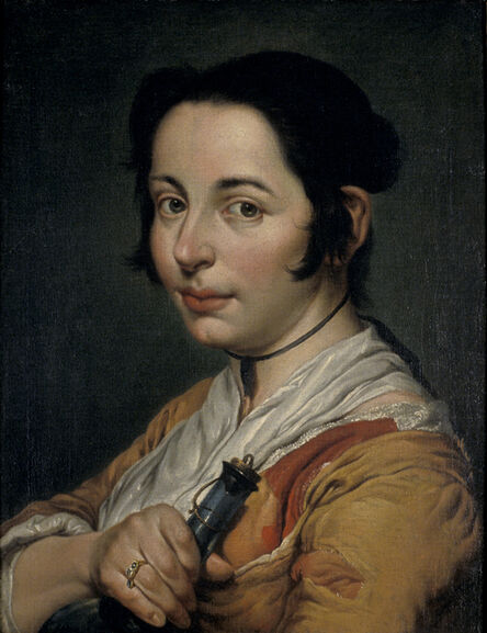 Giacomo Ceruti, 'Young Peasant Woman Holding a Wine Flask', 1737