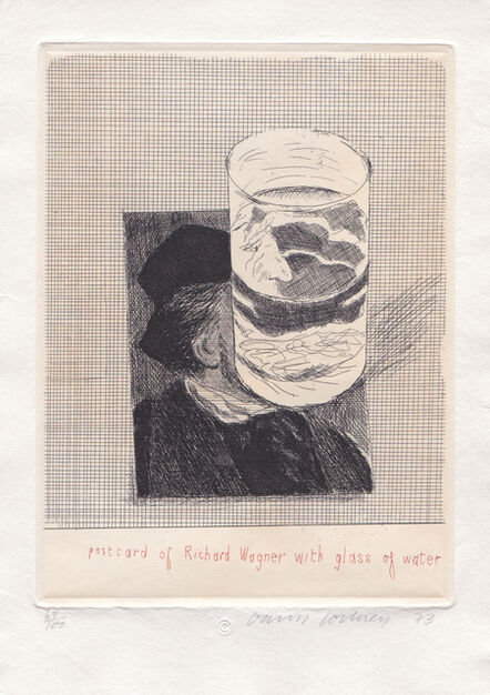 David Hockney, 'Postcard of Richard Wagner with a Glass of Water (From Eighteen Small Prints)', 1973