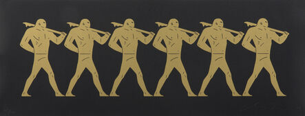 Cleon Peterson, 'The Marchers (gold on black)', 2015