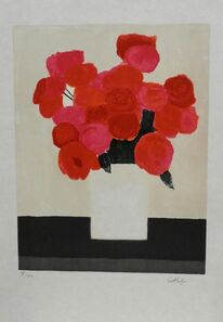 Bernard Cathelin, 'Bouquet de roses rouges la table noir', 1983