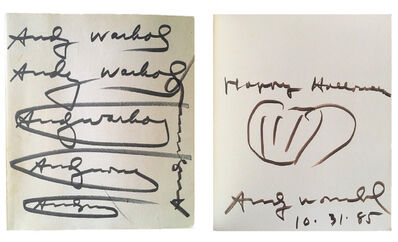 "Andy Warhol, '""HAPPY HALLOWEEN"", Exhibition Catalogue, Signed Twice / Inscribed ""Happy Halloween, 10-31-85"" with Pumpkin Drawing, ""Andy Warhol/ Das Graphische Werk 1962-1980"", UNIQUE', 1985"