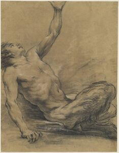Jean-Baptiste Deshays, 'Seated Satyr Leaning Backward [recto]', 1758/1765