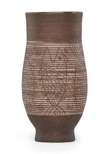 Edwin Scheier, 'Early vase with fish', 1950s-60s