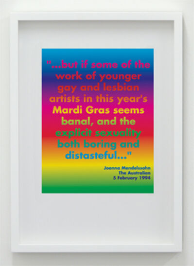 """David McDiarmid, '""""… but if some of the work of younger gay and lesbian artists in this year's Mardi Gras seem banal, and the explicit sexuality both boring and distasteful …""""', 1994 / 2012"""