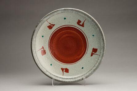 Shinsaku Hamada, 'Plate, ji glaze with akae decoration'