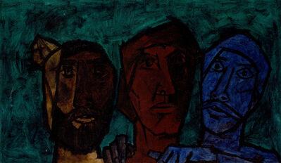 M. F. Husain, 'Untitled (Heads - Green)', 1957