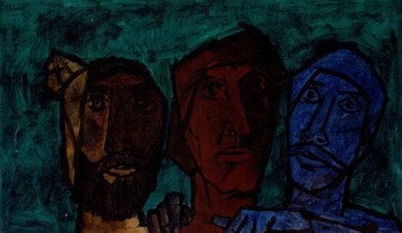 Maqbool Fida Husain, 'Untitled (Heads - Green)', 1957