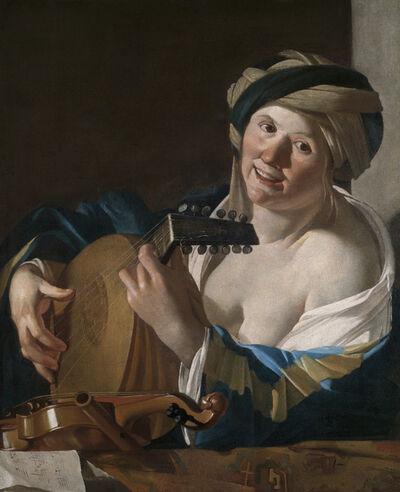 Dirck van Baburen, 'A Woman Playing the Lute', 1620-1624