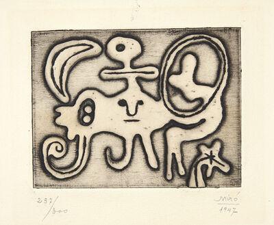 Joan Miró, 'Femme et Oiseau devant la Lune, from Laurels Number One', 1947
