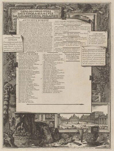 Giovanni Battista Piranesi and Francesco Piranesi (authors), 'Catalogo delle Opere Date Finora Alla Lvce Da Gio Battista Piranesi'