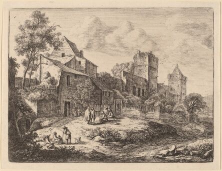 Anthonie Waterloo, 'Square in Front of an Inn'