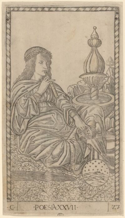 Master of the E-Series Tarocchi, 'Poesia (Poetry)', ca. 1465