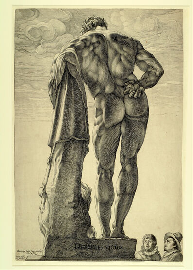 Hendrik Goltzius, 'Dutch Visitors to Rome Looking at the Farnese Herculese', ca. 1592