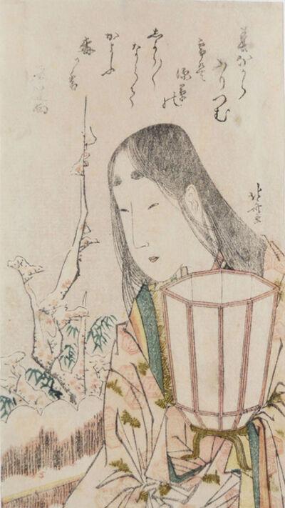 Katsushika Hokusai, 'Beauty with Lantern Looking at Plum Blossoms in Snow', ca. 1804