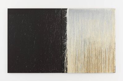Pat Steir, 'White and Black Diptych with White Splashes', 2009