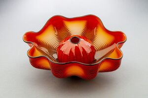 Dale Chihuly, 'Chinese Red Seaform Pair Handblown Glass Signed Contemporary Art', 1995