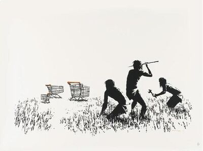 Banksy, 'Trolleys (black & white, signed)', 2007