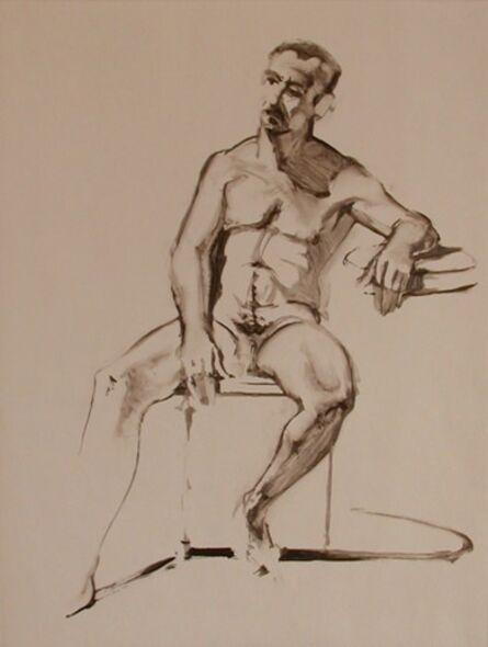 Wayne Thiebaud, 'Untitled (seated nude, male)', 1977