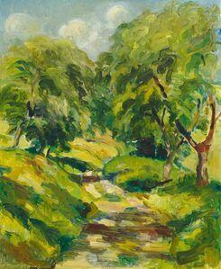 Franz Gertsch, 'Sonniger Weg zwischen Bäumen', 1946
