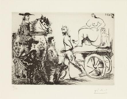 Pablo Picasso, 'Don Quichotte, Sancho et un 'Mousquetaire' Regardant Passer  Dulcinée sur une Charrette Tirée Par un Homme Masqué, 3.7.68 I', 1968