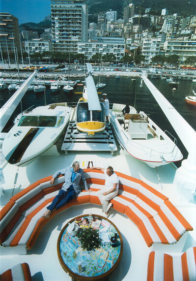 Slim Aarons, 'Transport Buffs: Roy J. Craven and Prince Polignac, Monte Carlo Harbour', 1976